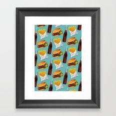 Cheeseburger Fries & Soda Pattern Framed Art Print