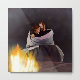 fireplace cuddles // kabby Metal Print