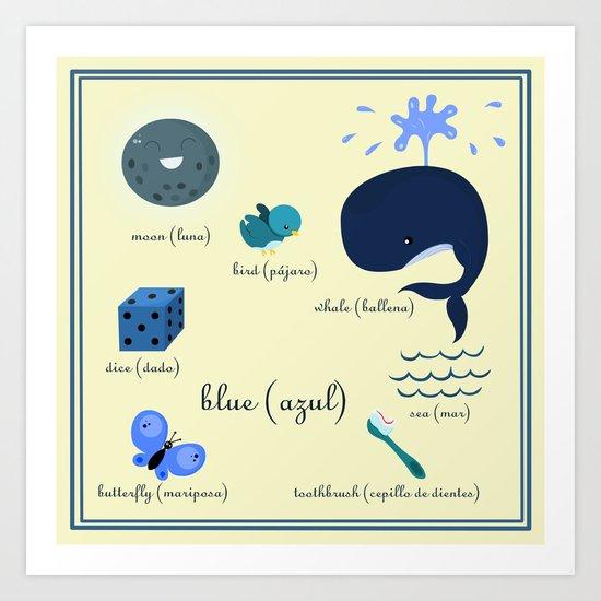 Colors: blue (Los colores: azul) Art Print
