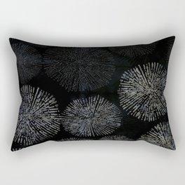 Black Shibori Sea Urchin Burst Pattern Rectangular Pillow