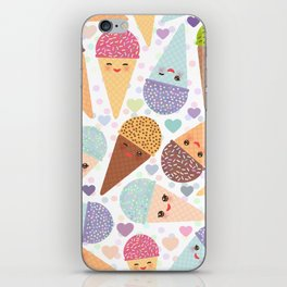 Kawaii funny Ice cream waffle cone, with pink cheeks and winking eyes iPhone Skin