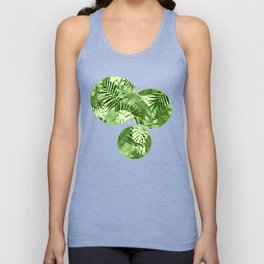 Green Tropical Leaves Pattern Unisex Tank Top