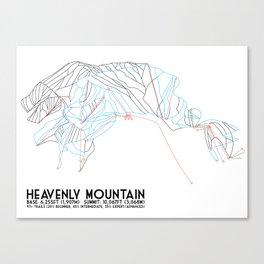 Heavenly, CA/NV - Minimalist Trail Map Canvas Print