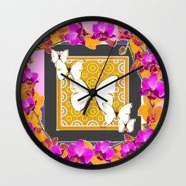 White Butterflies Pattern Purple-Pink Orchids Gold Art Wall Clock