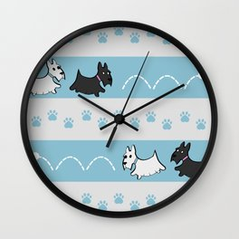Scotties Pattern Wall Clock