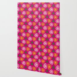 Bright pink floral Wallpaper