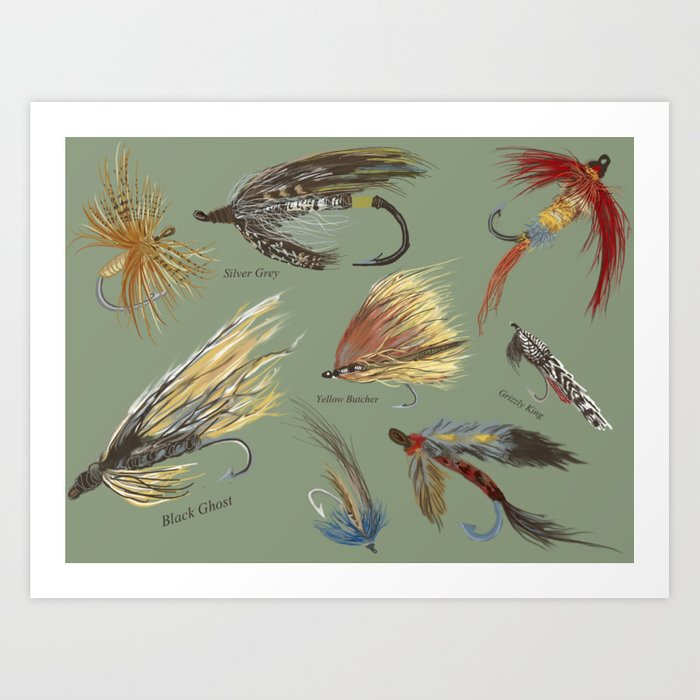 Fly fishing with hand tied lures! Kunstdrucke