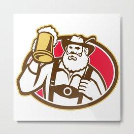 Bavarian Beer Drinker Mug Retro Metal Print