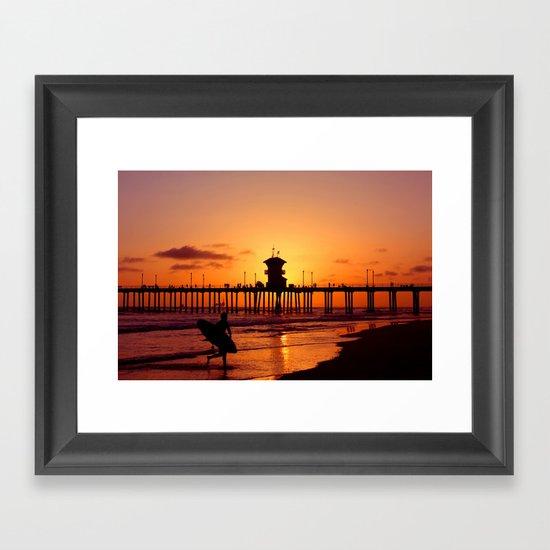Surfers Sunset Framed Art Print