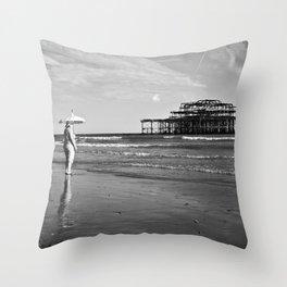 Brighton Pier, British Seaside Throw Pillow