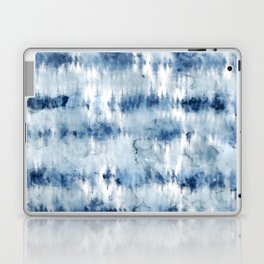 Modern hand painted dark blue tie dye batik watercolor Laptop & iPad Skin