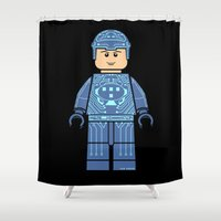 tron Shower Curtains featuring Tron Lego by Ant Atomic