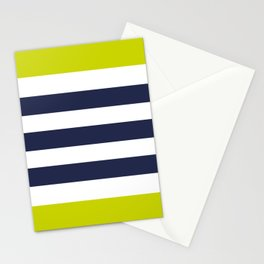 Modern Classy Navy Blue Lime Green STRIPES Stationery Cards