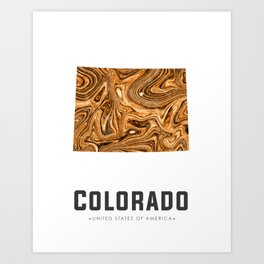 Colorado - State Map Art - Abstract Map - Brown Art Print
