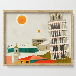 travel europe Italy shapes pisa tower Serving Tray