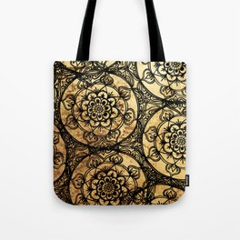 Golden Lace Tote Bag