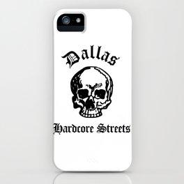 Dallas Texas Hardcore Streets Urban Streetwear White Skull, Super Sharp PNG iPhone Case