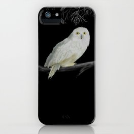 Spirit Owl 1 White on Black Abstract iPhone Case