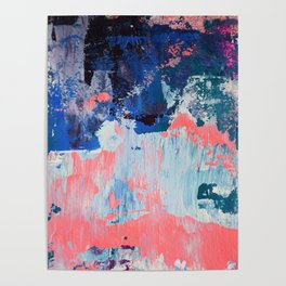 Mixtapes and Bubblegum: a colorful abstract piece in pinks and blues by Alyssa Hamilton Art Poster