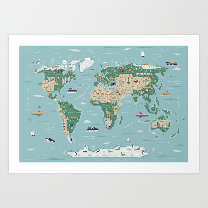 Illustrated World Map with animals, continents and architecture Art Print  by adela_flore