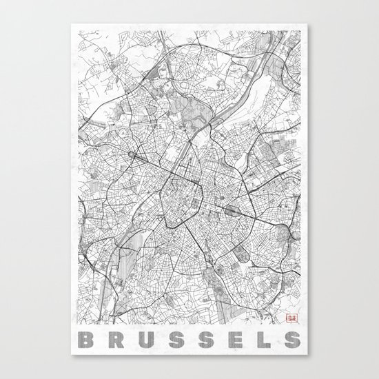 Brussels Map Line Canvas Print