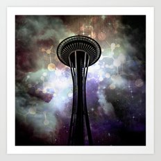 Space Needle - Seattle Stars and Clouds at Night Art Print