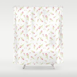 Single Hand Painted Watercolor Pink Red Rose Shower Curtain