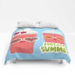 Hello Summer Kawaii cherry smoothie Comforters