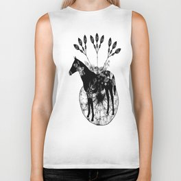 Black and white horse and the flowers Biker Tank