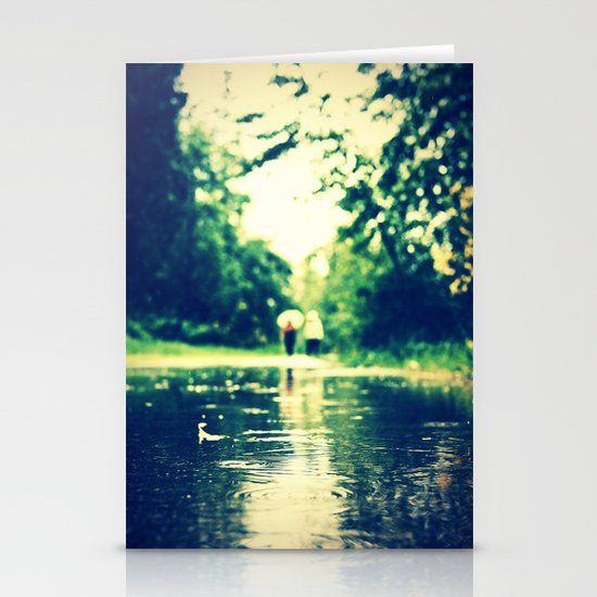 A rainy walk Stationery Cards