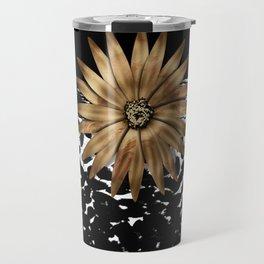 Animal Print Cheetah Black and White Pattern and Gold Medallion Travel Mug
