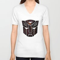 transformers V-neck T-shirts featuring Autobots Abstractness - Transformers by DesignLawrence