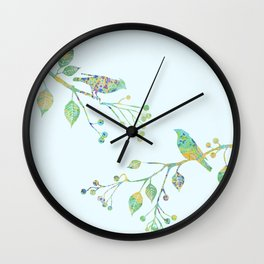 Birds on Branches Love Bird Couple Vintage Floral Pattern Green Yellow Blue Wall Clock