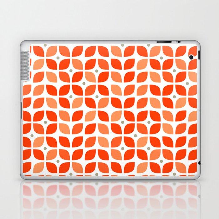 Red geometric floral leaves pattern in mid century modern style Laptop & iPad Skin