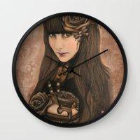 chocolate Wall Clocks featuring Chocolate by Sheena Pike ART
