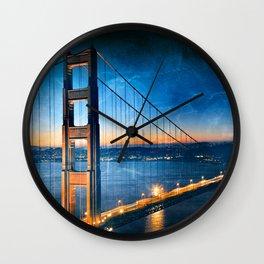 Golden Gate Ghost Bridge Wall Clock