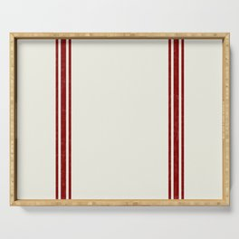 Vintage Country French Grainsack Red Stripes Creme Background Serving Tray