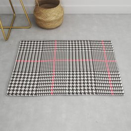 Black and White Glen Plaid with Red Stripe Rug