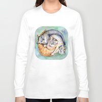 cuddle Long Sleeve T-shirts featuring Cuddle Cats by Lucy's Visual Fling