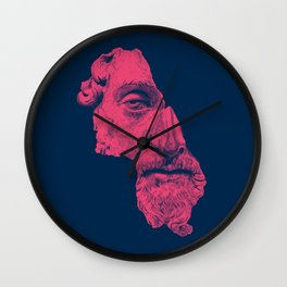 MARCUS AURELIUS ANTONINUS AUGUSTUS / prussian blue / vivid red Wall Clock