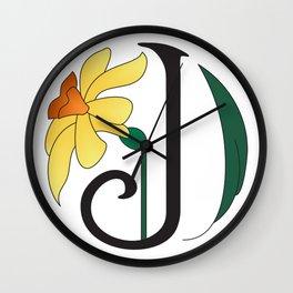 Ruby's Flower Initials - J Wall Clock