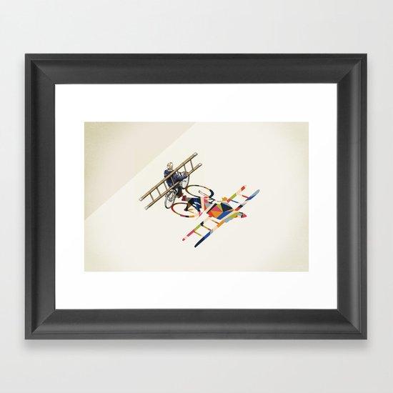 Walking Shadow, Bicyclist Framed Art Print