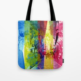 Overlap interrupting wrapped up in thoughts while. [CMYK] Tote Bag