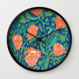 Coral Proteas on Blue Pattern Painting Wall Clock