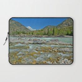 sandy beach on the river Katun, Altai Mountains, Siberia, Russia Laptop Sleeve
