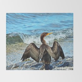Cormorant Dries off in front of the Sea Throw Blanket