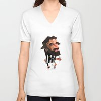 juventus V-neck T-shirts featuring Minirobguns Pirlo by Robin Gundersen