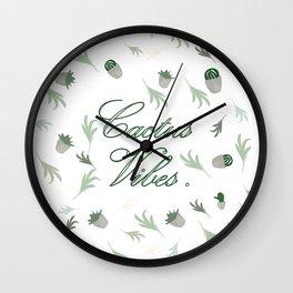 Cactus vibes green white pattern cacti-leaves tropical desert decor buyart  , Christmas , society6 Wall Clock