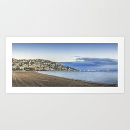 Panorama of Roses town and beach, Costa Brava, Cataluna, Spain Art Print