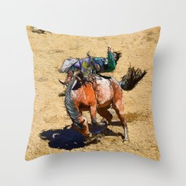 Bronco III - Rodeo Art Throw Pillow